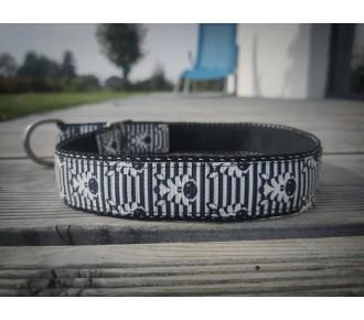 Obroża dla psa - Handmade - półzaciskowa - czarno-biała - zebry
