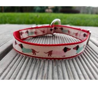 Obroża dla psa - obroża dla małych psów - Handmade - obroża dla jamnika - jamniki - ozdobna klamra