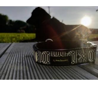 Obroża dla psa z uchwytem - identyfikator dla psa - klamra z grawerem - obroża z taśmą odblaskową